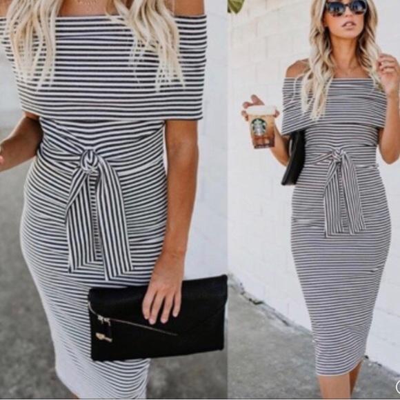 Vici Tyche White Gray Striped Off Shoulder Dress S